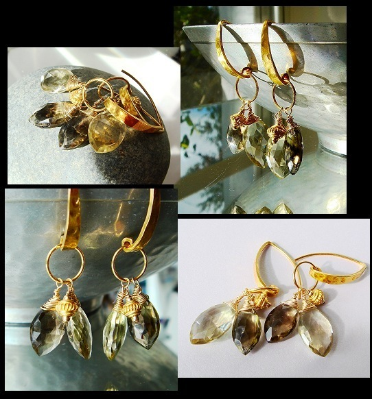 AAA Smoky Topaz Smokey topaz citrine bicolor bi-color quartz beer quartz whiskey quartz brandy quartz Gemstone Earrings Fancy faceted earrings gold gemstone earrings gemstone dangle earrings lovely luxe jewels lux jewels luxe deluxe lux delux cary martin designs