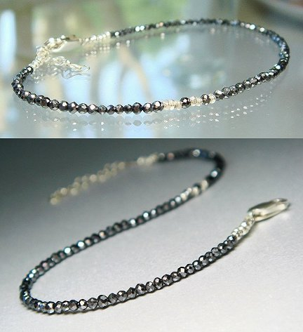 Sexy Sleek Black Diamond Skinny Bracelet