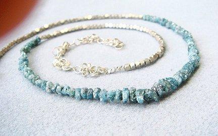 Raw Diamond Jewelry Raw Blue Diamond Necklace