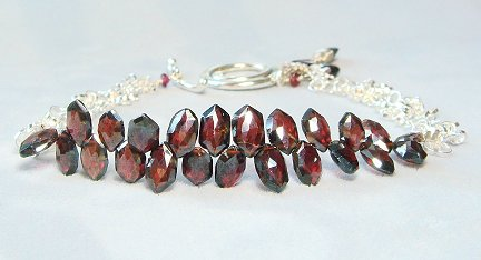 January Birthstone Garnet Bracelet Garnet Jewelry