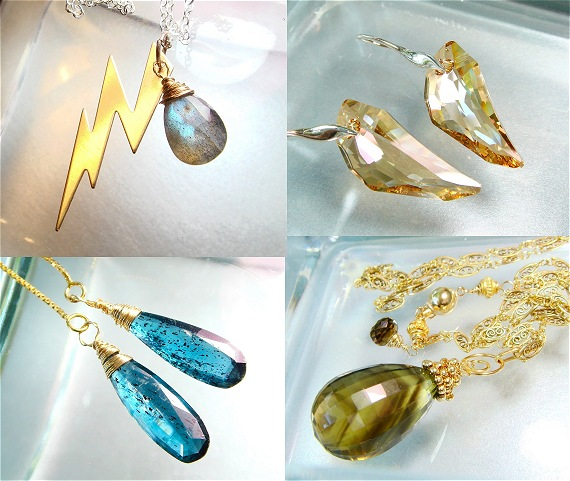 metaphysical gemstone jewelry lightening bolt jewelry swarovski crystal jewelry