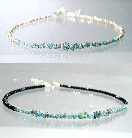natural diamond jewelry Raw Diamond Bracelet Blue Diamond Rough Diamond