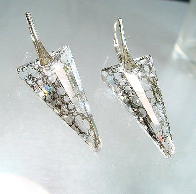 Swarovski Dagger Silver Patina Earrings