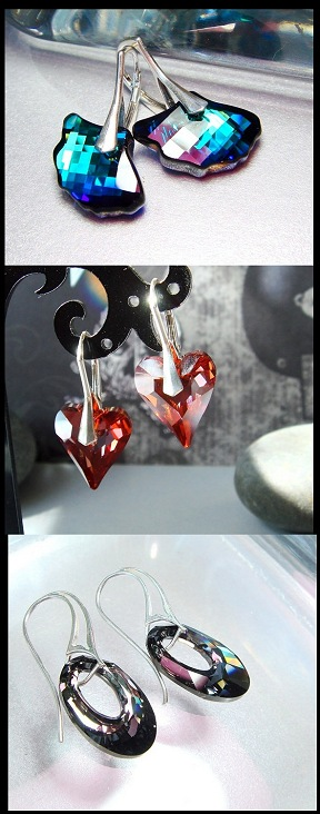 Swarovski earrings swarovski crystal earrings ginkgo earrings ginko earrings wild heart earrings crystal heart earrings red heart earrings summer jewelry lovely luxe jewels lux jewels deluxe jewels luxe deluxe lux delux
