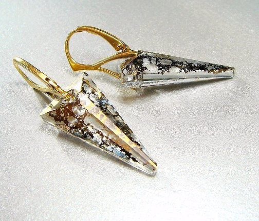 Swarovski Dagger Gold Patina Earrings