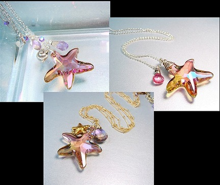 Swarovski purple haze crystal starfish necklace sterling starfish necklace beach jewelry mermaid jewelry summer jewelry lovely luxe jewels lux jewels deluxe jewels luxe deluxe lux delux starfish jewelry
